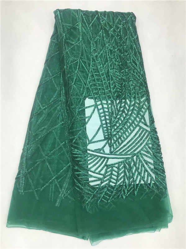 Африканская кружевная ткань 2019 Высокое качество Африканский тюль кружевная ткань с блестками Золотой Зеленый Французский чистая кружева для женщин платье новое