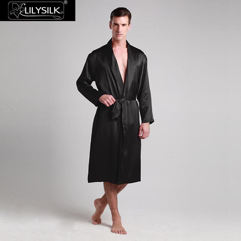 Lilysilk Robe Kimono Nachtwäsche Bad Lang Morgenmantel Männer Reine 100 Seide 22 Momme Luxus Natürliche Ausverkauf Kostenloser Versand