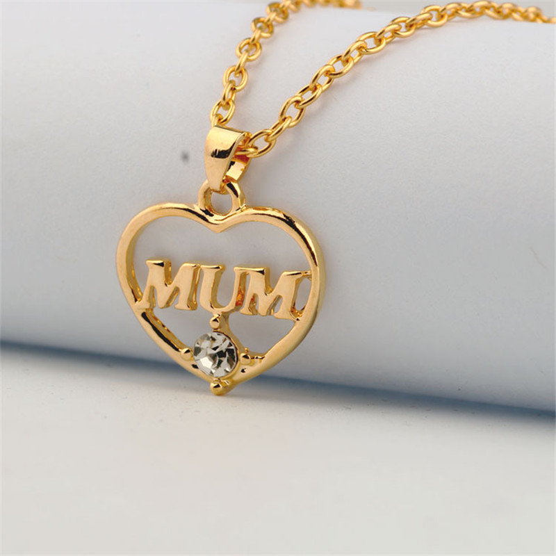 "ZN 2019 Gold Color Love ""Mum"" Crystal Heart Pendant Necklace Mother's Day Gifts for mother Sweater Chain Necklaces Best Gifts 35"