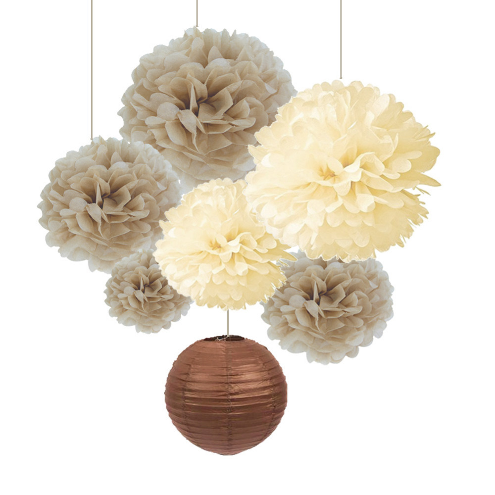SUNBEAUTY Pack of 7 Cream Tan Color Tissue Paper Pom Poms Brown Lanterns Party Wedding Birthday Decorations