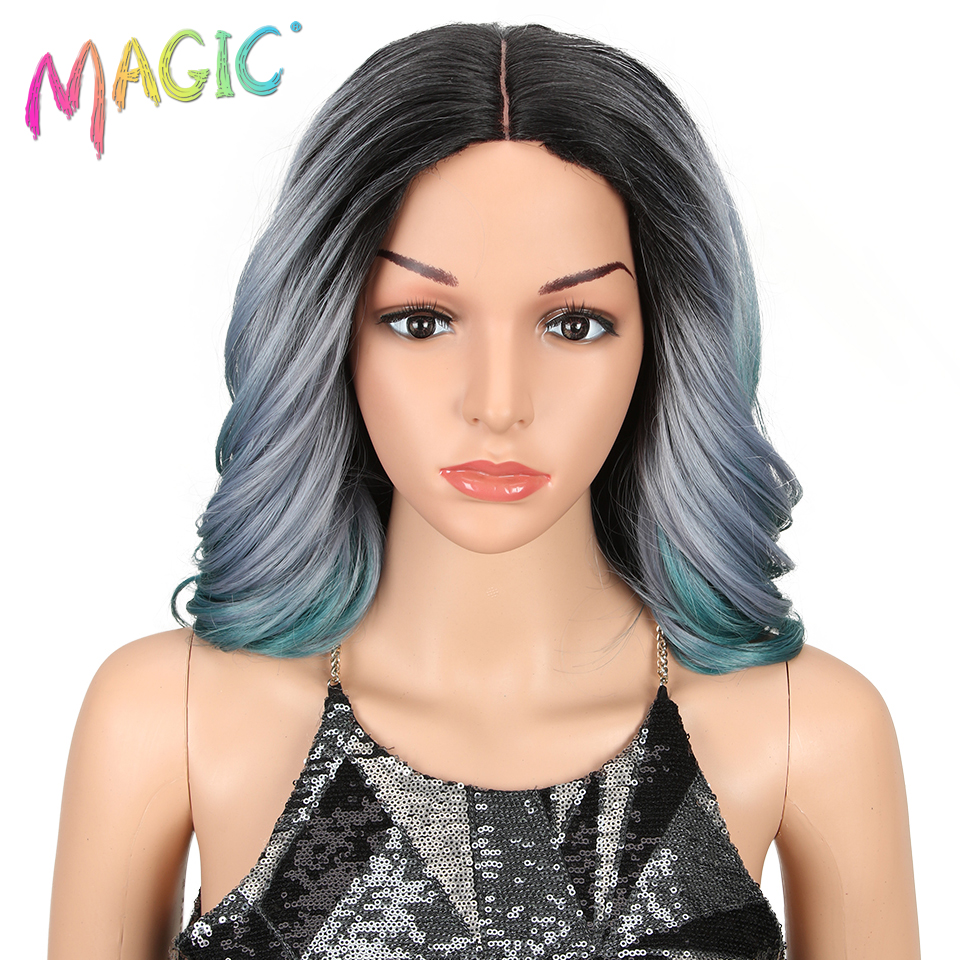 Magic Synthetic Hair Wigs For Black Women 14Inch Wavy Short Lace Wigs African American Synthetic Wig 3Color Free Shipping