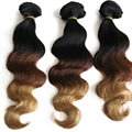 8A VIRGIN HAIR Three tone ombre dark roots blonde hair Clip in human hair extension 100g 7pcs or 160g 10pcs