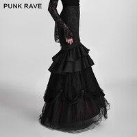 Панк рейв Готический Visual Kei Черный Цветы Вышивка длинная юбка женские, элегантные, обтягивающие вечерние Съемная два носить Performace юбка