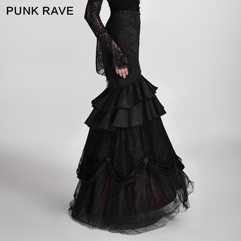 PUNK RAVE gothique visuel Kei fleurs noires broderie longue jupe femmes Sexy serré fête détachable deux-Wear Performace jupe