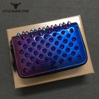 2019 Unisex Short Zipper Direct Selling Mini Custom Rivet Wallet High Quality Personalized Mens Cowhide Genuine Leather Purse
