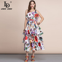 LD LINDA DELLA Fashion Runway Casual Holiday Summer Long Dress Women's Slash neck Tiered Floral Printed Draped Ruffles Dress