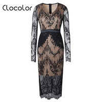 Clocolor Women S Casual Dress Pullover Spring Fall Lace V Neck Long Sleeve Pencil 2018 Modern