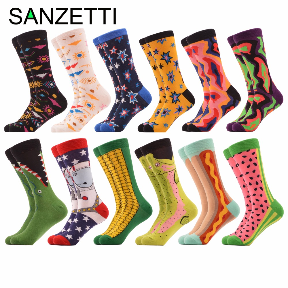 SANZETTI 12 pairs/lot Colorful Mens Combed Cotton Casual Dress Crew Socks Funny Corn Space Man Watermelon Novelty Streetwear