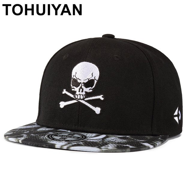 1e546b9f516 TOHUIYAN Men Women Cool Pirate Skull Embroidery Snapback Cap Flat Visor  Adjustable Baseball Hat Hip Hop