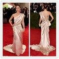 Mgc21 elegante Celebrity 2015 Met Gala rosa thin Lizzy Caplan rosa vestidos de noche del partido del traje de soirée