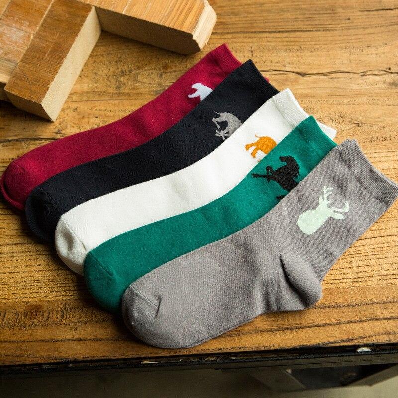 2016 New Fashion Men Socks Cute Animal Cartoon Style Cotton Socks Autumn Winter Young Men Sox 5 Colors For Choose