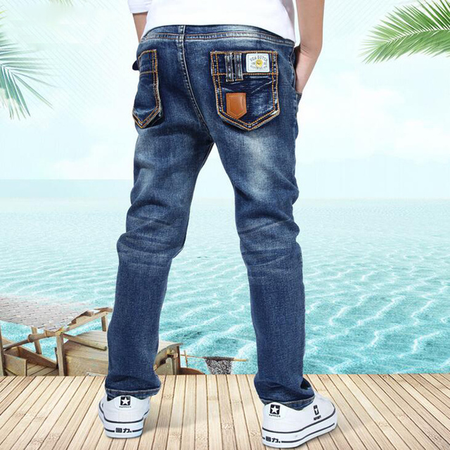 New Style Kids Jeans Baby Boys Trousers Summer and Autumn Fashion Designer Children Denim Pants Elastic Waist Casual Jeans XL597