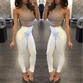 Elegant White Color Corset Fashion Long Pants Casual Skinny Leggings Women Pant