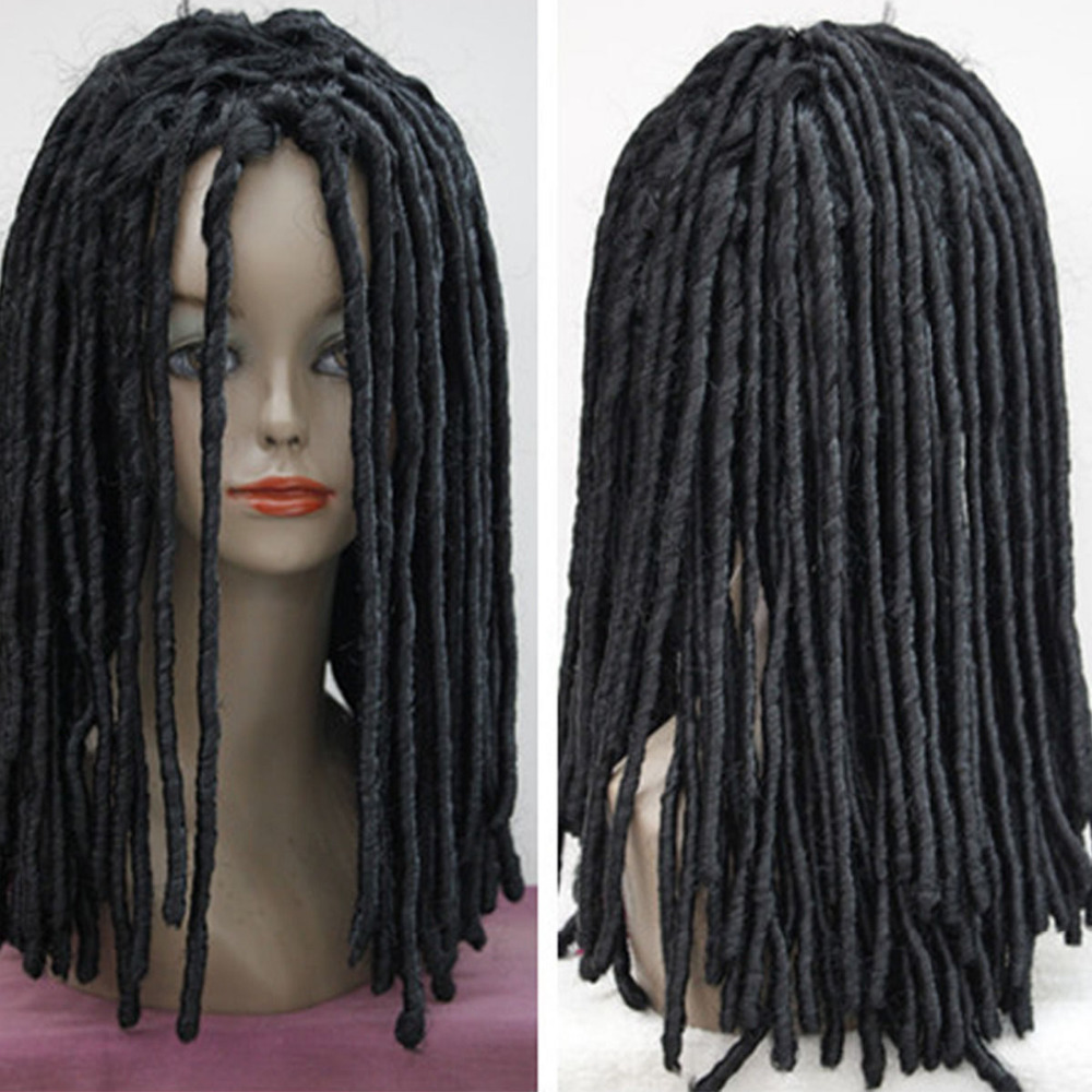Дреды Готический африканский парик длинных рулонов завитки волос Косплэй костюм черный парик