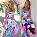 Vancol 2016 top de culturas e saia conjuntos de verão vestidos de praia floral plus Size Vestido de Uma Linha Strapless Define 2 Peça Definir Mulheres