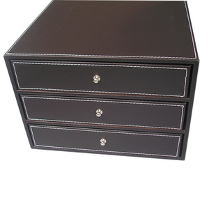 Image 5 - 3 Layers Office PU Leather Desk Filing Cabinet A4 Paper File Document Holder Wooden Desk Organizer Magazine Storage Box 3 Drawer