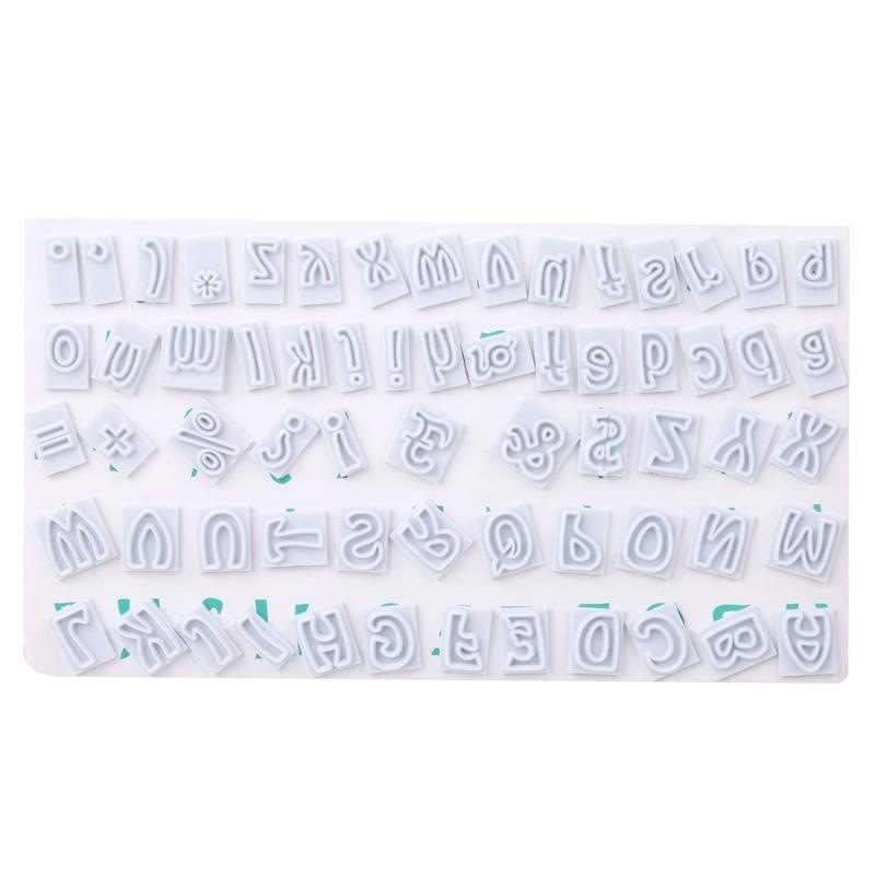 64 יח'\סט DIY דמויות-עליון ותחתון מקרה אותיות האלפבית קוקי פלסטיק יצק קאטר אפיית עוגת קישוט כלי h938