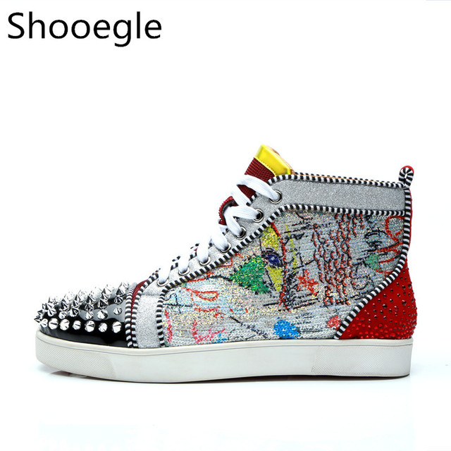 Men Graffiti Painting High Top Patchwork Casual Shoes Spike Sneaker Lace up  Rivets Stud Flats Runway Chaussure Hommes f3a4d259ed1e