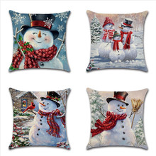 цена на Snowman Pattern Christmas Pillow Case Cartoon Throw Pillows Cover For Home Office Hotel Seat Soft Pillowcase 45x45cm