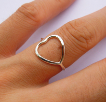 Solid Sterling Silver Heart shape ring Handmade All Sizes (4 to 16)