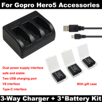 AHDBT 501 battery For Gopro hero 7 Hero 6 Hero5 + Go pro Hero 5 3 Way with Type C Port Charger For GoPro 5 6 7 Hero5 Camera