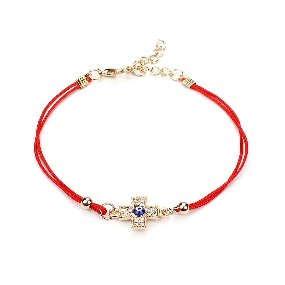 3741c56f8bb8 Ojo de la suerte fino hilo rojo mal ojo Cruz encantos pulsera cuerda  brazaletes pulseras para Mujeres Hombres longitud ajustable EY96