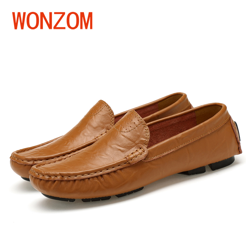 WONZOM New Mens Casual Loafers High Quality Genuine Leather Moccasins Zapatos Hombre Fashion Flats Driving Shoes Big Size 38-48 wonzom high quality genuine leather brand men casual shoes fashion breathable comfort footwear for male slip on driving loafers