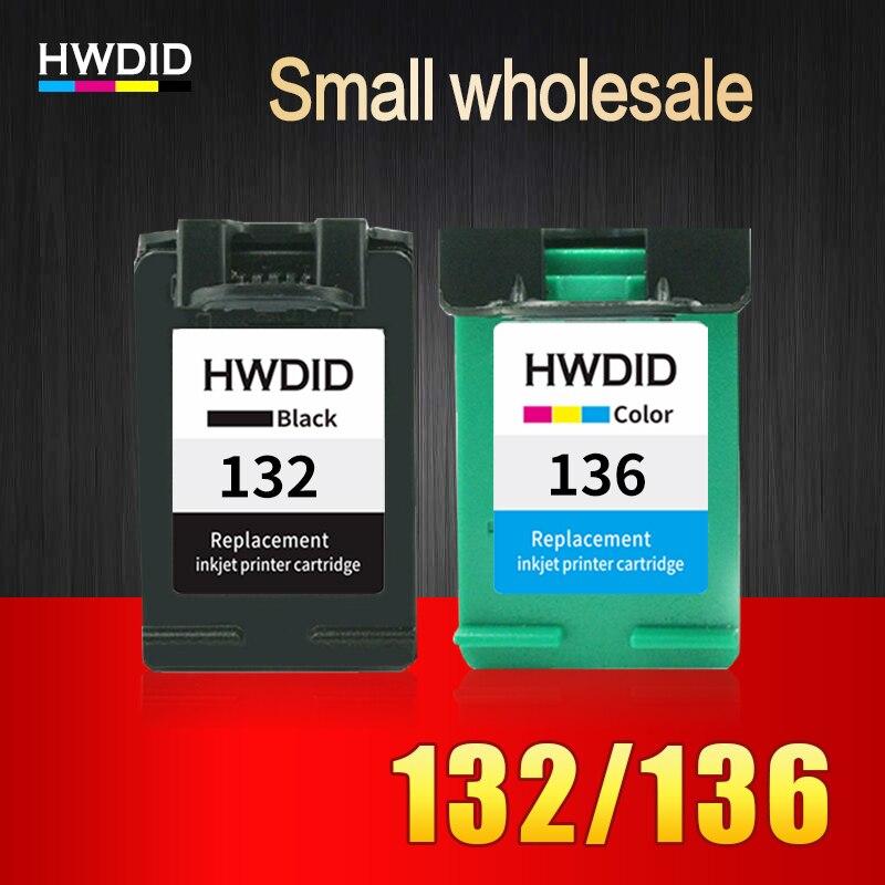 HWDID 2 Pack 132 136 Remises À Neuf cartouche d'encre Compatible Pour HP Deskjet 5443 D4163 Photosmart c3183 2573 D5163 OfficeJet 6213