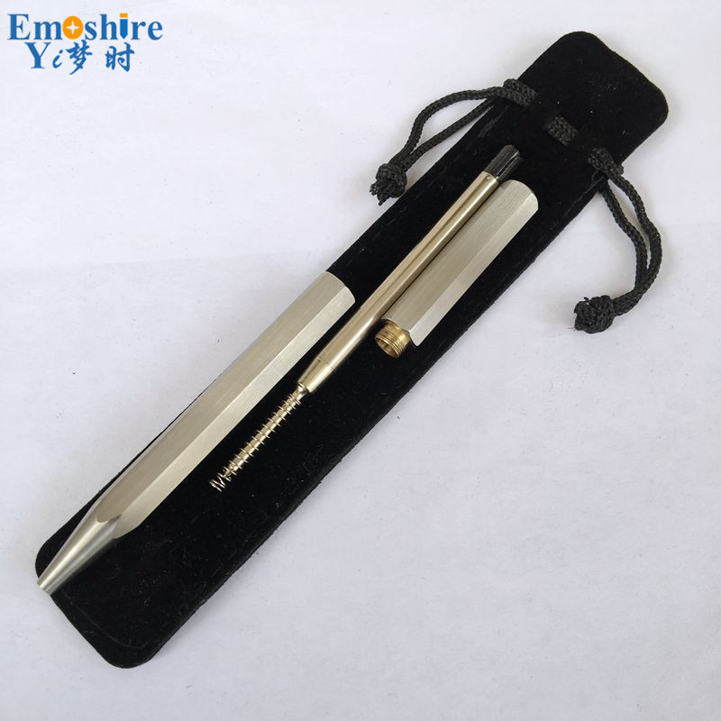 New Hand-drawing Stainless Steel Ballpoint Pen Six Prism-shaped Rotary Pencil Metal Pen Core Anti-roll Ball-point Pen P307 2017 keyring telescoping hot outdoor thick mini retractable pen stainless steel metal ballpoint pen portable note keychain
