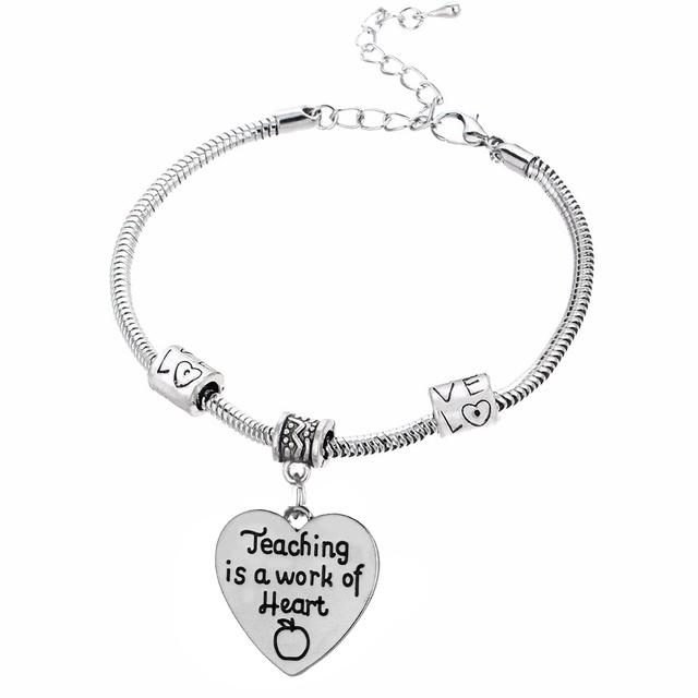 Charm Bracelet Teachers Teaching Is A Work Of Heart Le Love Chain Bangle Antique Beads