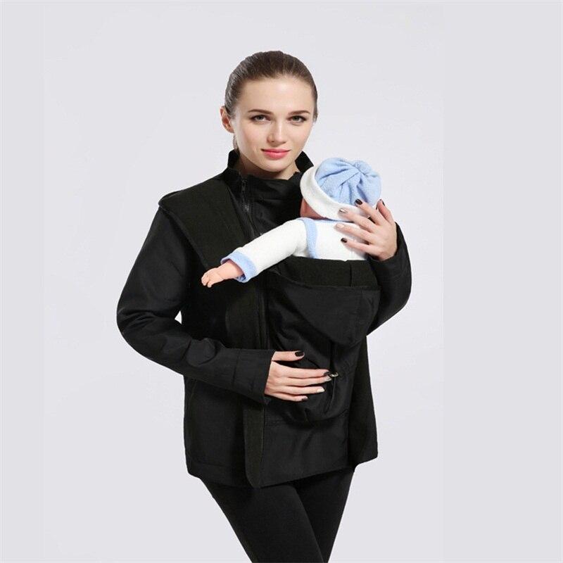 Acheter De maternité manteau Épaissie grossesse laine portage Gris femmes à  capuche porte bébé kangourou 5127eea9ba7