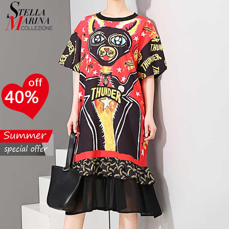 2018 Korean Style Summer Clothes Women Short Sleeve Midi Chiffon Dress Cartoon Letters Printing Girls Stylish Casual Dress 3588