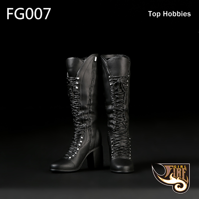 F007 1/6 Scale Black <font><b>Sexy</b></font> <font><b>Female</b></font> High Heels Mid Boots Combat Shoes Model Toys For 12