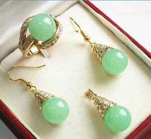 real new Jewelry Natural new Fashion green gem pendant Earring ring Quartz Fine Plated Bridal wide watch wings queen