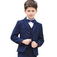 Flower Boys Formal School Suits for Weddings Boys Blazer Shirt Vest Pants Tie 5pcs Tuxedo Kids Prom Party Dress Clothing Sets