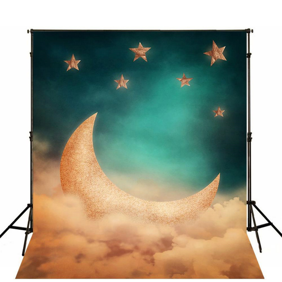 night sky gold stars crescent moon clouds backdrops Vinyl cloth High quality Computer print wall Backgrounds