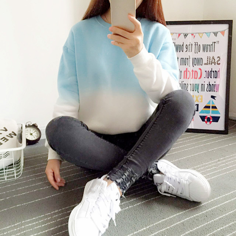 2017 New Spring Autumn Harajuku Hoodies Tjock Fleece Gradient Färg Lös Casual Sweatshirt Women Sweatshirts Tracksuit Moletom