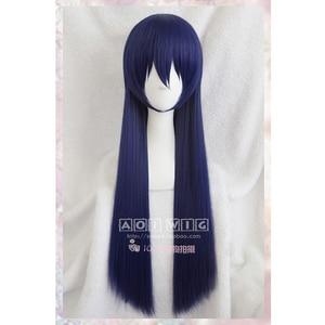 Image 2 - Anime Liefde Live! LoveLive! Sonoda Umi 80 cm Lange Gemengde Blauw Haar Hittebestendige Cosplay Kostuum Pruik + Gratis Pruik Cap