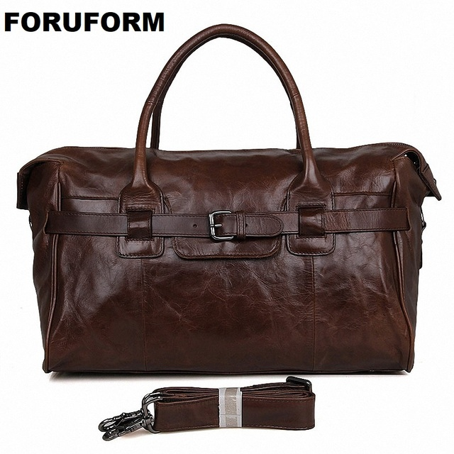 Men's Big Capacity Genuine Leather Travel Bag Durable Casual Travel Duffle Real Leather Large Shoulder Weekend Handbag LI-1838