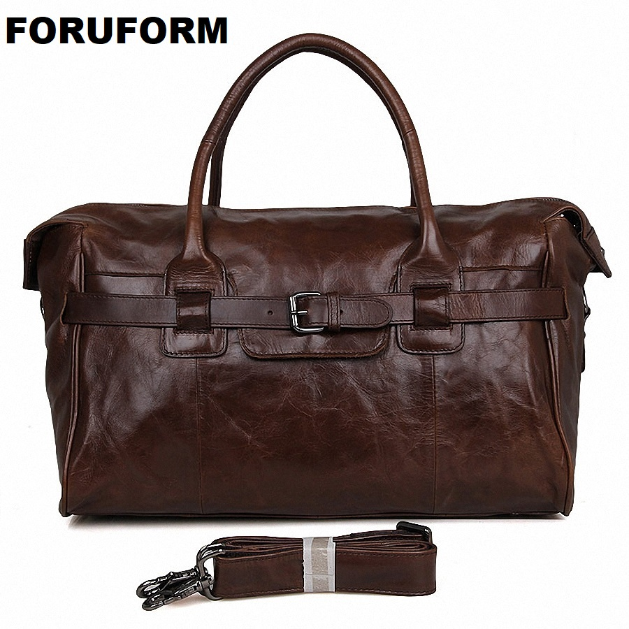 Mens Big Capacity Genuine Leather Travel Bag Durable Casual Travel Duffle Real Leather Large Shoulder Weekend Handbag LI-1838