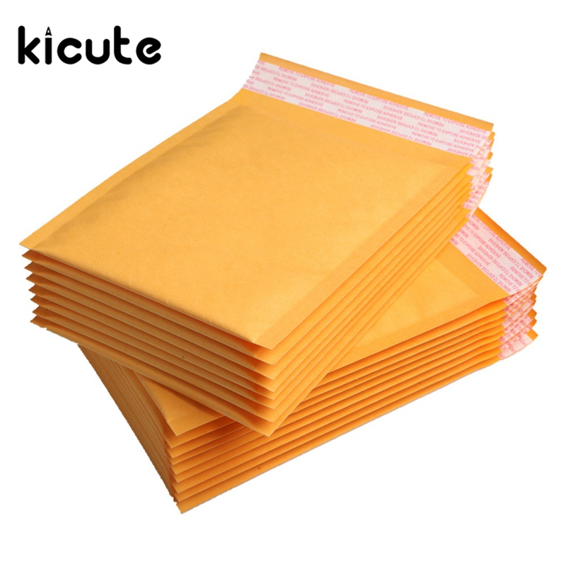 Kicute 50pcs/lot Top Quality Yellow Kraft Bubble Mailers Padded Envelopes Shipping Bag Self Seal Business School Office Supplies free shipping 50pcs lot b0505s b0505s 1w sip4 best quality