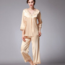 Women's Lace Silk Satin Pajamas Sets Solid Embroidery Women Lounge Sleepwear Pyjama Femme Pajama JR012