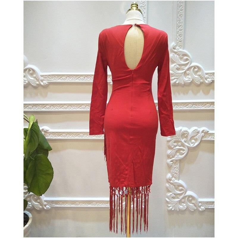 Couture De Printemps Longues Doux Femmes Col Robe V Rouge Robes Partie Beauté À Manches Hiver Sexe 2018 Dames Gland Nouvelle YUSx0wq