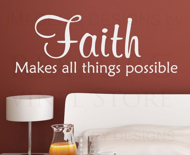 Wall Quote Decal Sticker Vinyl Faith Makes All Things Possible God Religious  Wall Art Decor
