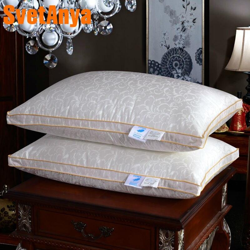 Folhas frescas de impressão pato/ganso para baixo enchimento de almofadas travesseiro de pescoço high end silk cotton 48x74 cm fundamentos almofadas de massagem terapêutica