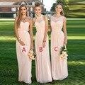 Luz de blush rosa da dama de honra das mulheres vestido 2017 vestido de la dama de honor partido do vestido de casamento vestido de baile para da dama de honra
