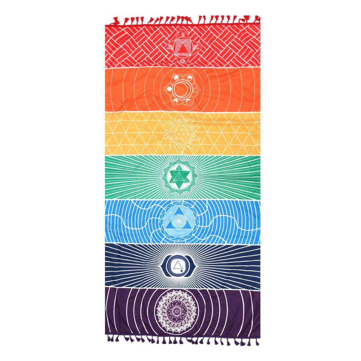 Telo mare Arazzo Arcobaleno 7 Chakra Stripes Estate Wall Hanging Mandala Viaggi Coperta Yoga Stuoia di Protezione Solare Scialle Hippy Boho