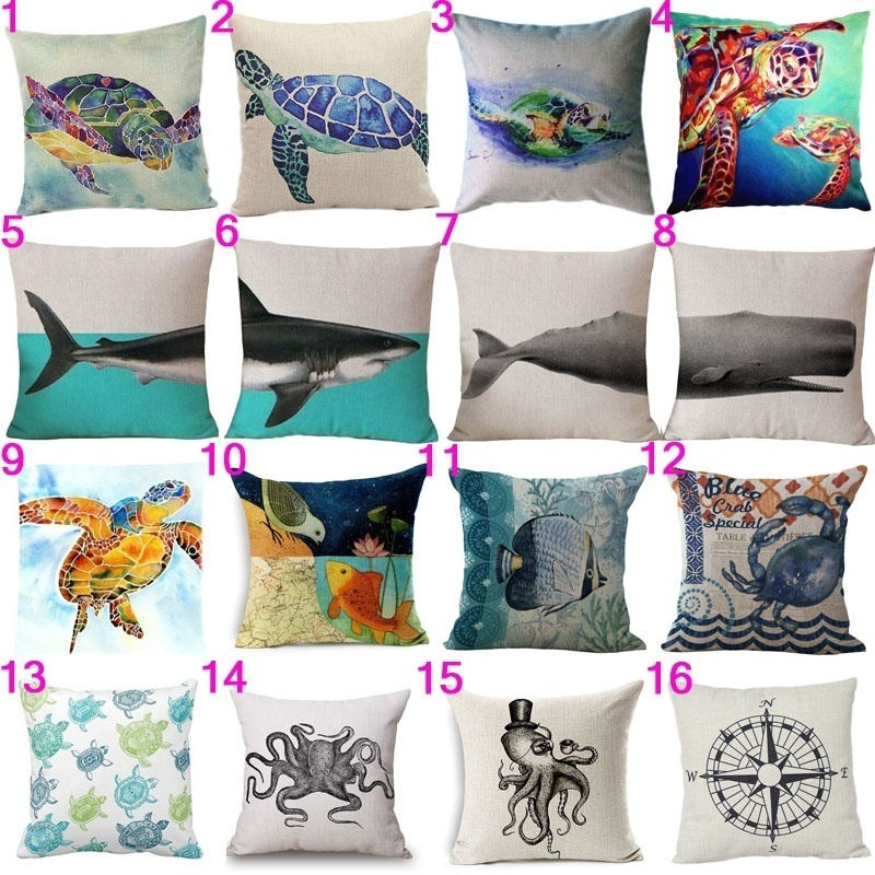 ocean beach cushion cover decorative turtle whale cushion covers sofa throw pillow car chair home decor