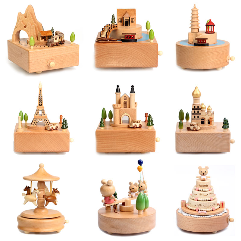 Christmas Gift Carousel Musical Boxes Wooden Music Box Wood Crafts Retro Birthday Gift Vintage Home Decoration Accessories