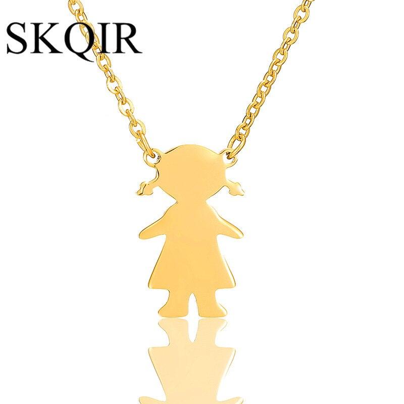 Gravírované jméno dívka s přívěskem náhrdelník roztomilý z nerezové oceli Ponytail dcera kouzlo náhrdelník děti narozeniny šperky dárek